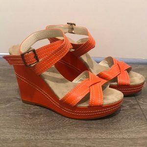 Marc Jacobs Orange Wedge Heels Size 38